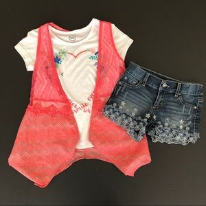 Wonder nation outfit M 7/8 girls top duster shorts